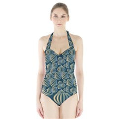 Gradient Flowers Abstract Background Halter Swimsuit