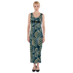 Gradient Flowers Abstract Background Fitted Maxi Dress