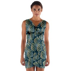Gradient Flowers Abstract Background Wrap Front Bodycon Dress