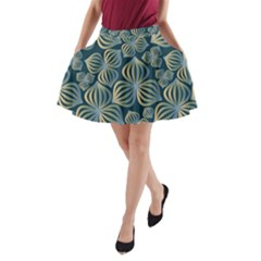 Gradient Flowers Abstract Background A Line Pocket Skirt