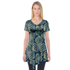 Gradient Flowers Abstract Background Short Sleeve Tunic