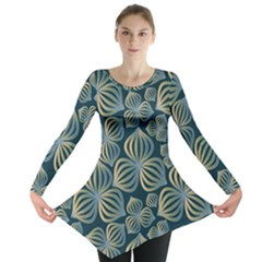 Gradient Flowers Abstract Background Long Sleeve Tunic