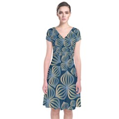 Gradient Flowers Abstract Background Short Sleeve Front Wrap Dress