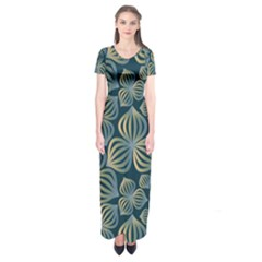 Gradient Flowers Abstract Background Short Sleeve Maxi Dress