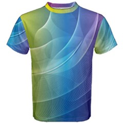 Colorful Guilloche Spiral Pattern Background Men s Cotton Tee