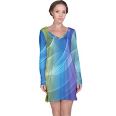 Colorful Guilloche Spiral Pattern Background Long Sleeve Nightdress