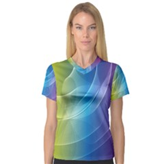 Colorful Guilloche Spiral Pattern Background Women s V Neck Sport Mesh Tee