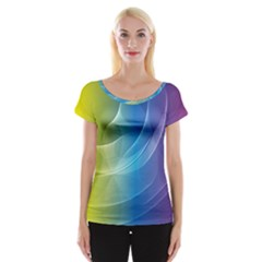 Colorful Guilloche Spiral Pattern Background Women s Cap Sleeve Top