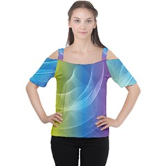 Colorful Guilloche Spiral Pattern Background Women s Cutout Shoulder Tee