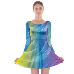 Colorful Guilloche Spiral Pattern Background Long Sleeve Skater Dress