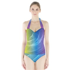Colorful Guilloche Spiral Pattern Background Halter Swimsuit