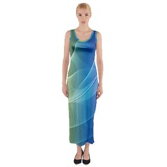 Colorful Guilloche Spiral Pattern Background Fitted Maxi Dress