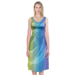 Colorful Guilloche Spiral Pattern Background Midi Sleeveless Dress