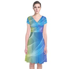 Colorful Guilloche Spiral Pattern Background Short Sleeve Front Wrap Dress