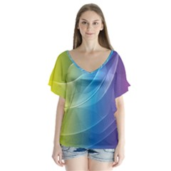 Colorful Guilloche Spiral Pattern Background Flutter Sleeve Top