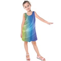 Colorful Guilloche Spiral Pattern Background Kids  Sleeveless Dress