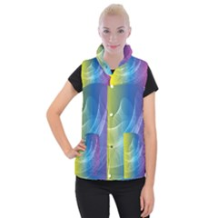 Colorful Guilloche Spiral Pattern Background Women s Button Up Puffer Vest