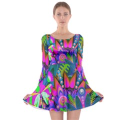 Wild Abstract Design Long Sleeve Skater Dress