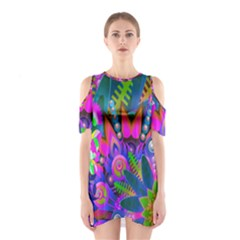 Wild Abstract Design Shoulder Cutout One Piece
