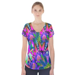 Wild Abstract Design Short Sleeve Front Detail Top