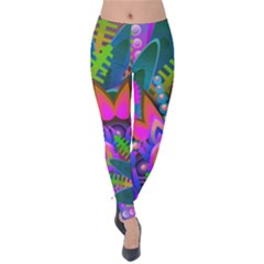 Wild Abstract Design Velvet Leggings