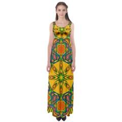 Seamless Orange Abstract Wallpaper Pattern Tile Background Empire Waist Maxi Dress