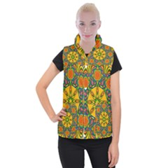 Seamless Orange Abstract Wallpaper Pattern Tile Background Women s Button Up Puffer Vest