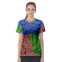 Abstract Art Mixed Colors Women s Sport Mesh Tee