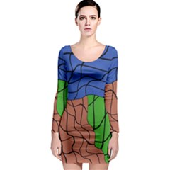 Abstract Art Mixed Colors Long Sleeve Bodycon Dress
