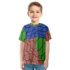Abstract Art Mixed Colors Kids  Sport Mesh Tee