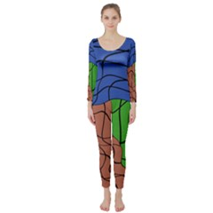 Abstract Art Mixed Colors Long Sleeve Catsuit