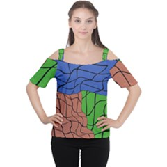 Abstract Art Mixed Colors Women s Cutout Shoulder Tee