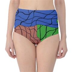 Abstract Art Mixed Colors High Waist Bikini Bottoms