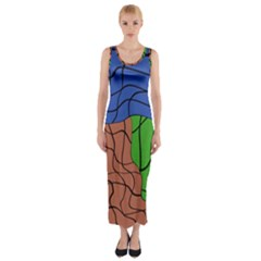 Abstract Art Mixed Colors Fitted Maxi Dress