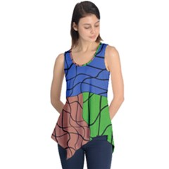 Abstract Art Mixed Colors Sleeveless Tunic