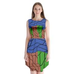 Abstract Art Mixed Colors Sleeveless Chiffon Dress