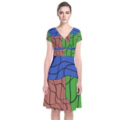 Abstract Art Mixed Colors Short Sleeve Front Wrap Dress