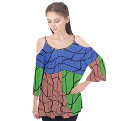 Abstract Art Mixed Colors Flutter Tees