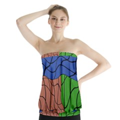 Abstract Art Mixed Colors Strapless Top