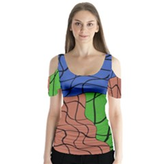 Abstract Art Mixed Colors Butterfly Sleeve Cutout Tee