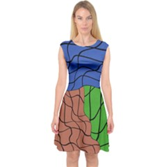 Abstract Art Mixed Colors Capsleeve Midi Dress