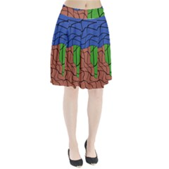 Abstract Art Mixed Colors Pleated Skirt