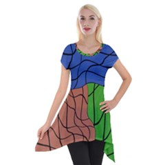 Abstract Art Mixed Colors Short Sleeve Side Drop Tunic