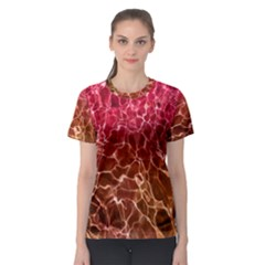 Background Water Abstract Red Wallpaper Women s Sport Mesh Tee