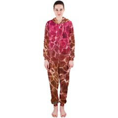 Background Water Abstract Red Wallpaper Hooded Jumpsuit (ladies)