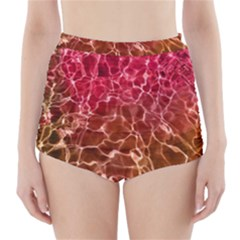 Background Water Abstract Red Wallpaper High Waisted Bikini Bottoms