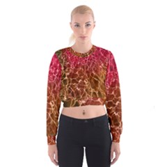 Background Water Abstract Red Wallpaper Women s Cropped Sweatshirt