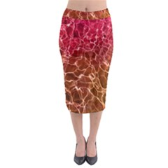 Background Water Abstract Red Wallpaper Midi Pencil Skirt