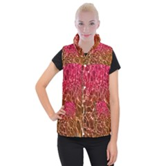 Background Water Abstract Red Wallpaper Women s Button Up Puffer Vest