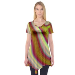 Artificial Colorful Lava Background Short Sleeve Tunic